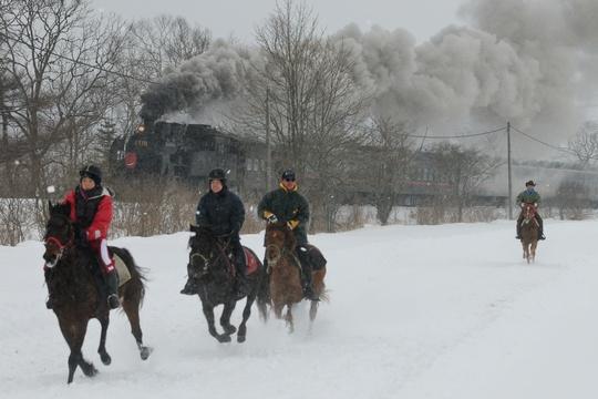 2012 SL冬の湿原号 標茶の馬併走